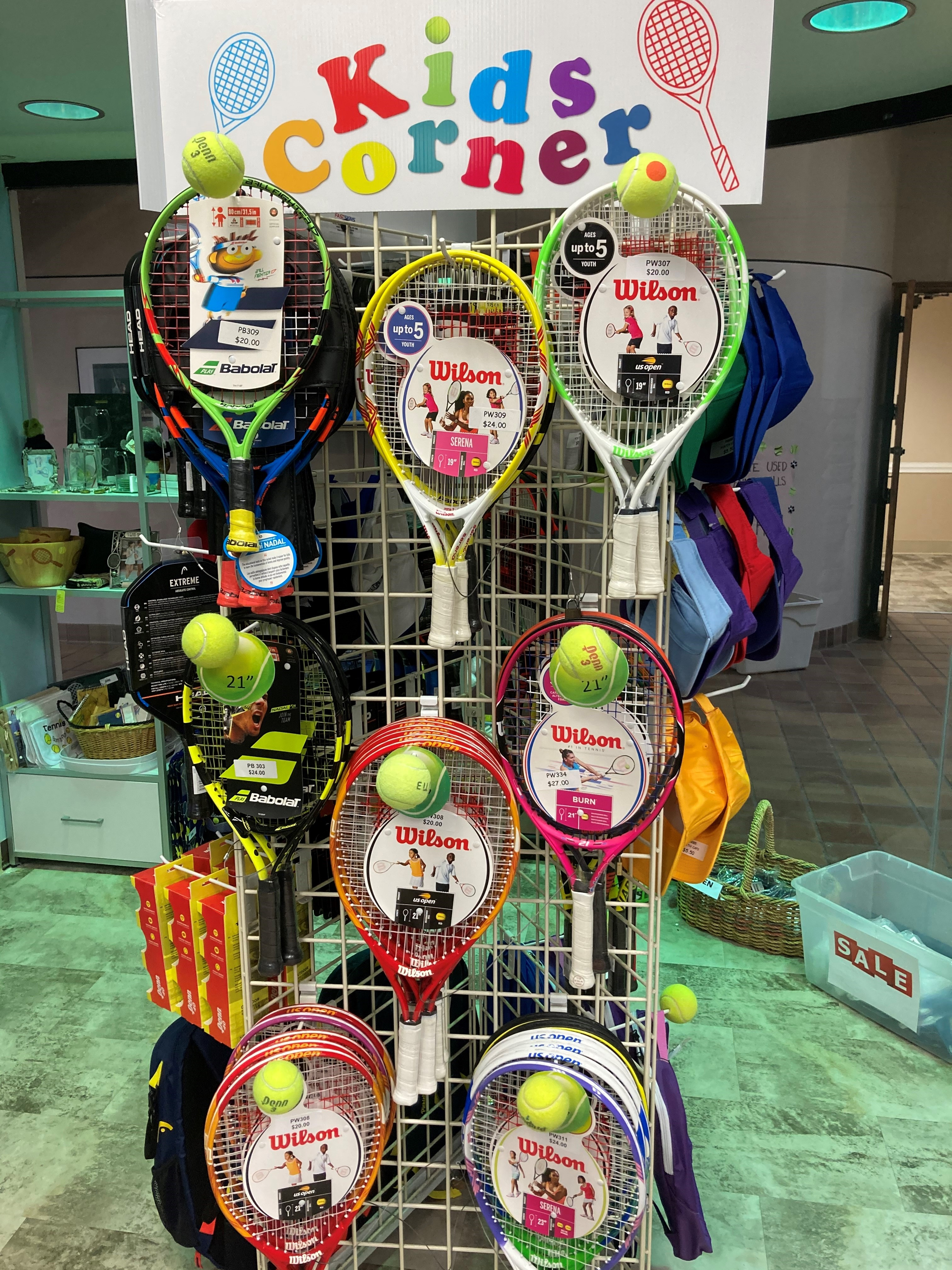 Kids racket display